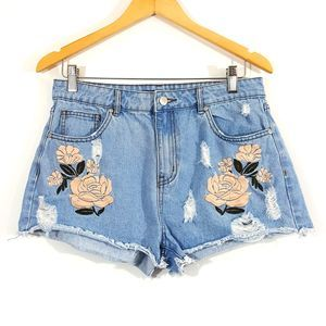 Forever 21 Embroidered Distressed Jean Shorts 29